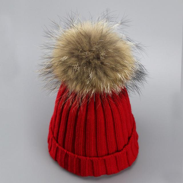 Real Fur Winter Hat Raccoon Pom Pom Hat For Women Brand Thick Women Hat Girls Caps Knitted Beanies-Accessories-MAKEFGE Store-red-EpicWorldStore.com