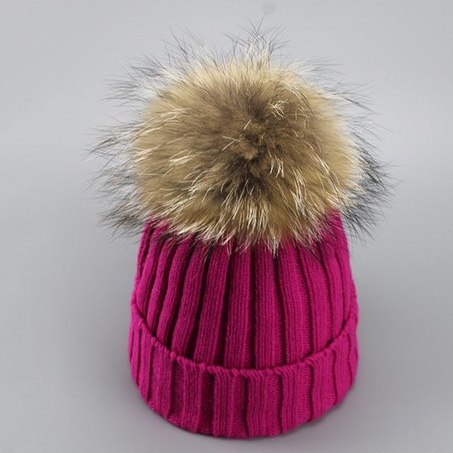Real Fur Winter Hat Raccoon Pom Pom Hat For Women Brand Thick Women Hat Girls Caps Knitted Beanies-Accessories-MAKEFGE Store-rose-EpicWorldStore.com