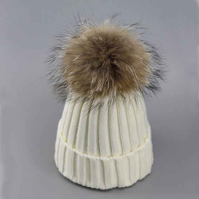 Real Fur Winter Hat Raccoon Pom Pom Hat For Women Brand Thick Women Hat Girls Caps Knitted Beanies-Accessories-MAKEFGE Store-white-EpicWorldStore.com