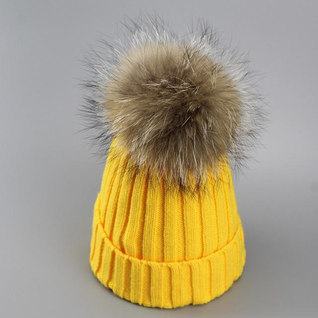 Real Fur Winter Hat Raccoon Pom Pom Hat For Women Brand Thick Women Hat Girls Caps Knitted Beanies-Accessories-MAKEFGE Store-yellow-EpicWorldStore.com