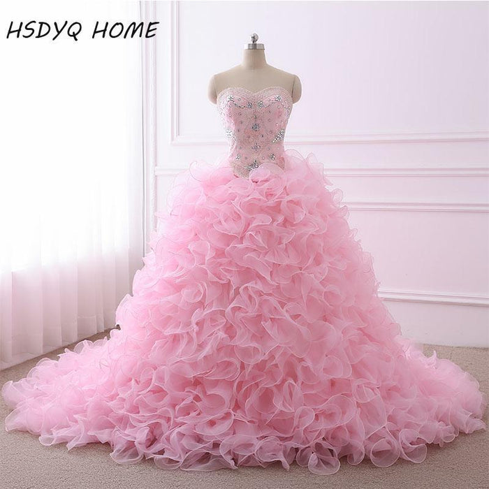 6907944fd2b Real Photo Quinceanera Dresses Ball Gown Sweetheart Organza Crystals Beaded  Ruffles Pink-Quinceanera Dresses-