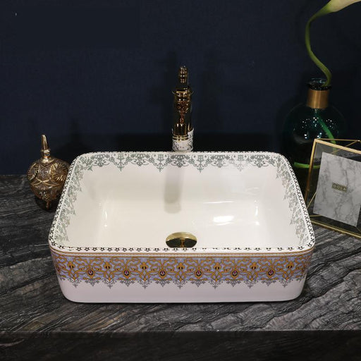 Rectangular Europe Vintage Style Ceramic Sinks Counter Top Wash Basin Bathroom Sink Washing Basin-Bathroom Sinks-Bthroom Sinks Of Life Store-only sink-EpicWorldStore.com