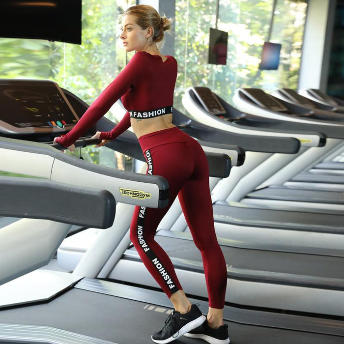 fc49d80028173 Red Black Women Fitness Sets Thick Tracksuit Sexy Hollow Out Long Sleeve  Tops And Slim Leggings