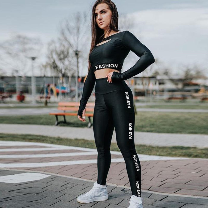 90781b47dd8654 Red Black Women Fitness Sets Thick Tracksuit Sexy Hollow Out Long Sleeve  Tops And Slim Leggings