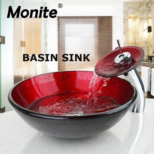 Red Round Washroom Basin Vessel Vanity Sink & Bathroom Mixer Tempered Glass Basin Sink Washbasin-Bathroom Sinks-YANKSMART Monite Store-EpicWorldStore.com