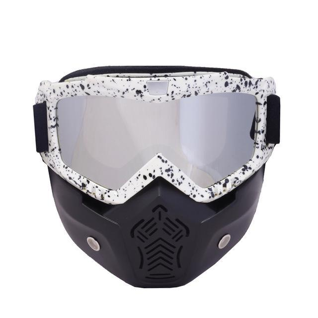 Reedocks New Modular Mask Detachable Goggles Mouth Filter Ski Glass Men Women Windproof Snow-Shooting-ReedoSport Store-S033 Silver lens-EpicWorldStore.com