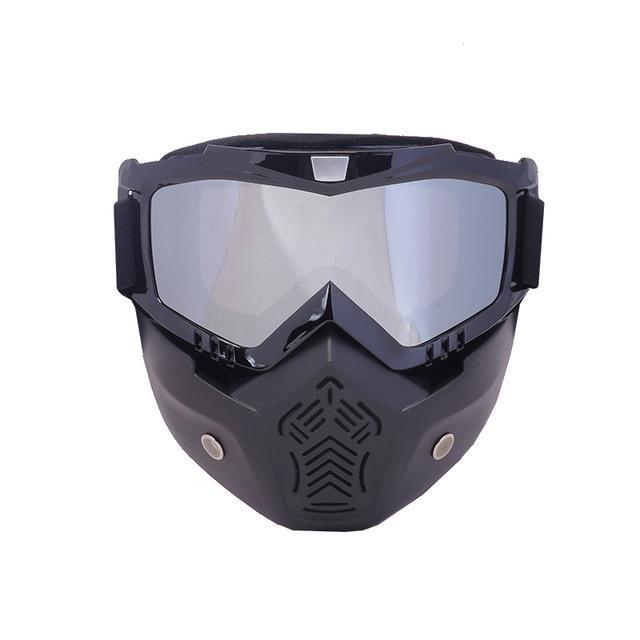 Reedocks New Modular Mask Detachable Goggles Mouth Filter Ski Glass Men Women Windproof Snow-Shooting-ReedoSport Store-S053 Silver lens-EpicWorldStore.com