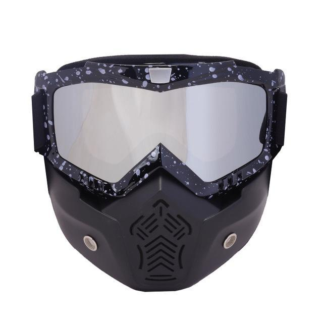 Reedocks New Modular Mask Detachable Goggles Mouth Filter Ski Glass Men Women Windproof Snow-Shooting-ReedoSport Store-S063 Silver lens-EpicWorldStore.com