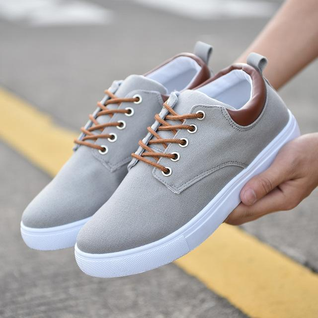 3308b95d116 Reetene Spring Summer Comfortable Casual Shoes Mens Canvas Shoes For Men  Lace-Up Brand-