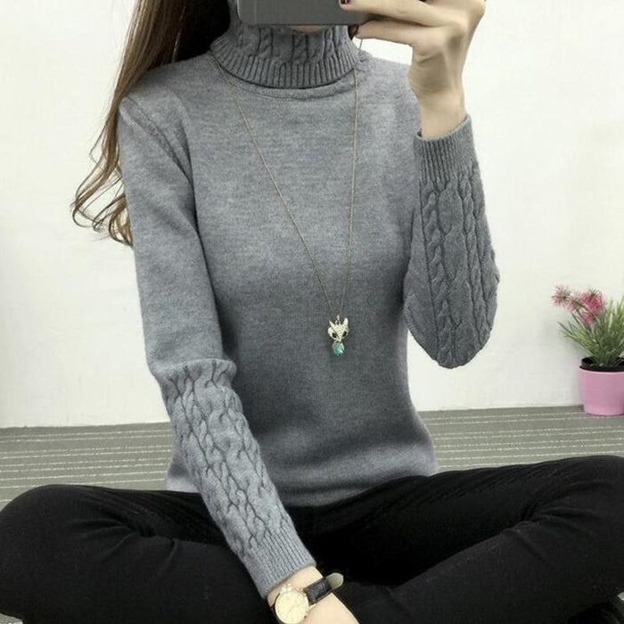 Refeeldeer Women Turtleneck Winter Sweater Women Long Sleeve Knitted Women Sweaters And-Sweaters-Refeeldeer Boutique Store-Black-S-EpicWorldStore.com