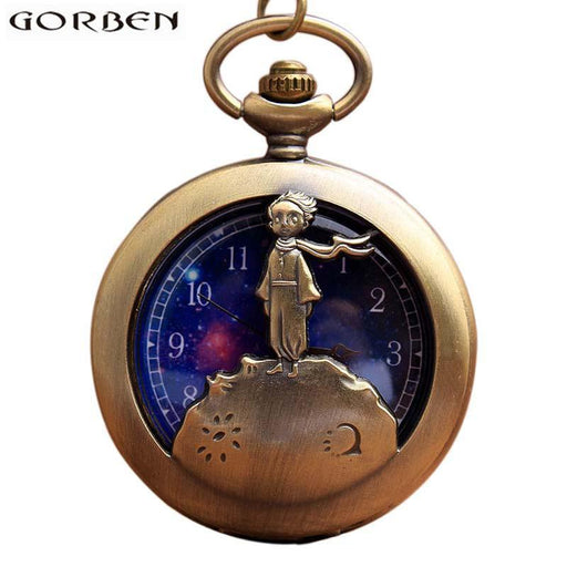 Retro Antique Bronze Little Prince Pocket Watch Vintage Fob Quartz Clock With Chain Necklace Pendant-Pocket & Fob Watches-Timing Watch Store-EpicWorldStore.com
