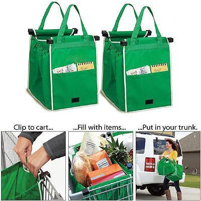 Reusable Large Trolley Clip-To-Cart Grocery Shopping Bags Portable Green Cloth Bag Foldable Tote-Functional Bags-the sweetie's Store-EpicWorldStore.com