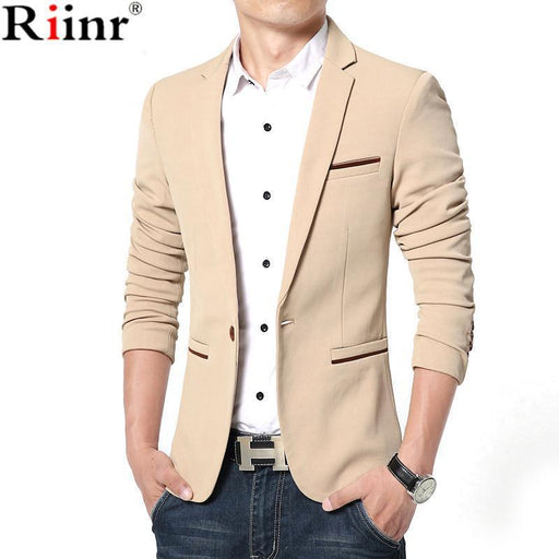 Riinr Luxury Men Blazer New Spring Brand High Quality Cotton Slim Fit Men Suit Terno-Suits & Blazers-RIINR 2 Store-Black-M-EpicWorldStore.com