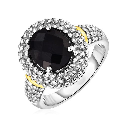 Ring With Oval Onyx In 18K Yellow Gold & Sterling Silver-Jewelry-EpicWorldStore.com-8-EpicWorldStore.com