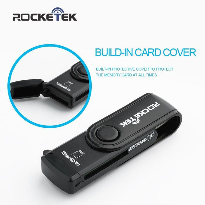 USB 3.0 SD Card Reader Rocketek 2 Slots Memory Card Reader with a Build-in Micr