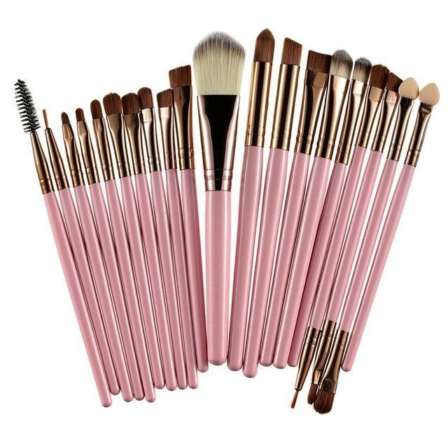 Rosalind 20Pcs Professional Makeup Brushes Set Powder Foundation Eyeshadow Make Up Brushes Cosmetics-Makeup-Rosalind Beauty Shop-Coffee and Pink-EpicWorldStore.com