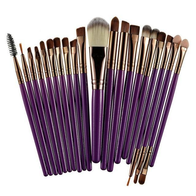 Rosalind 20Pcs Professional Makeup Brushes Set Powder Foundation Eyeshadow Make Up Brushes Cosmetics-Makeup-Rosalind Beauty Shop-Coffee and Purple-EpicWorldStore.com