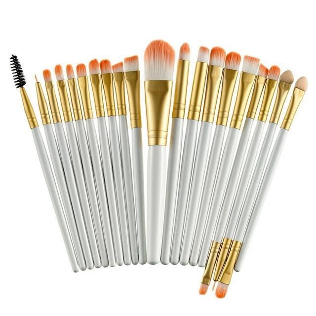 Rosalind 20Pcs Professional Makeup Brushes Set Powder Foundation Eyeshadow Make Up Brushes Cosmetics-Makeup-Rosalind Beauty Shop-Gold and White-EpicWorldStore.com