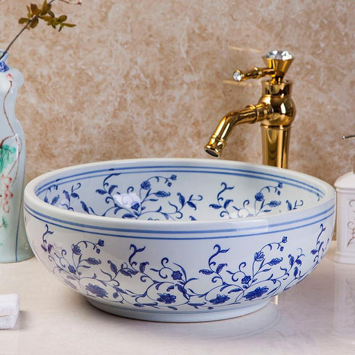 Rose Blue White Ceramic Art Basin Sink Europe Vintage Style Counter Top Wash Basin Bathroom Sinks-Bathroom Sinks-XY Bathroom Sinks Store-EpicWorldStore.com