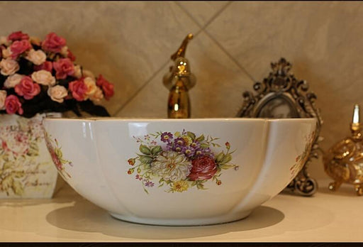 Rose Flower Ceramic Counter Top Wash Basin Bathroom Sinks-Bathroom Sinks-Jingdezhen Youngsceramic Store-sink and drainer-EpicWorldStore.com