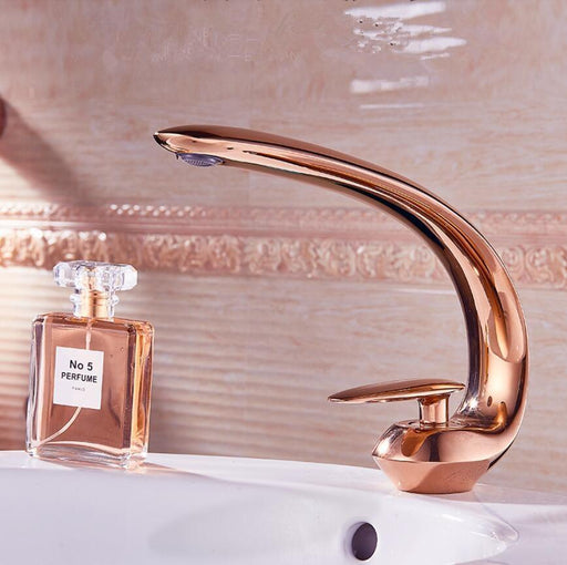 Rose Gold Basin Faucet Modern Bathroom Sink Mixer Tap Brass Wash Basin Faucet Single Handle Single-Basin Faucets-Annybaby Sanitary Products-rose gold-EpicWorldStore.com