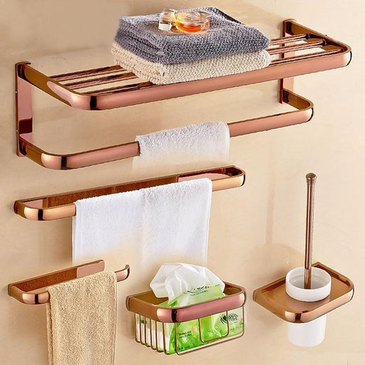Rose Gold Color Brass Square Bathroom Accessories Towel Shelf Towel Holder Toilet Paper Holder-Bath Hardware Sets-DANLUOLAN Global Store-Towel Rack-EpicWorldStore.com