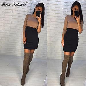 Rose Petunie Autumn Kaki And Black Patchwork Dresses Sheath 3/4 Sleeve O-Neck Mini-Dresses-Rose Petuie! Store-kaki and black-S-EpicWorldStore.com