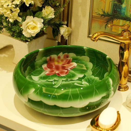 Round Ceramic Counter Top Wash Basin Cloakroom Hand Painted Vessel Sink Bathroom Sinks Lotus-Bathroom Sinks-China Art Bathroom Sinks-EpicWorldStore.com