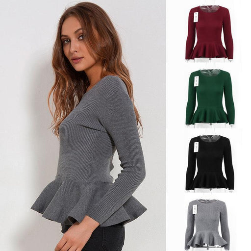 Ruffle Knitted Sweater Women Peplum Tops Autumn Spring Slim Pullover Long Sleeve O Neck-Sweaters-LOBOHO Girl Store-Gray-EpicWorldStore.com