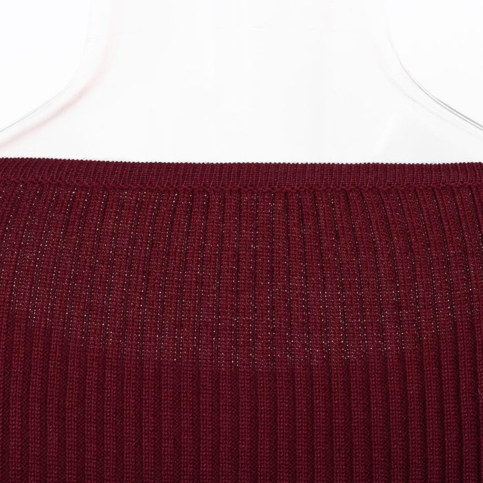 Slim Pullover Ruffle Knitted Sweater Women Tops Spring Long Sleeve O-Neck Casual