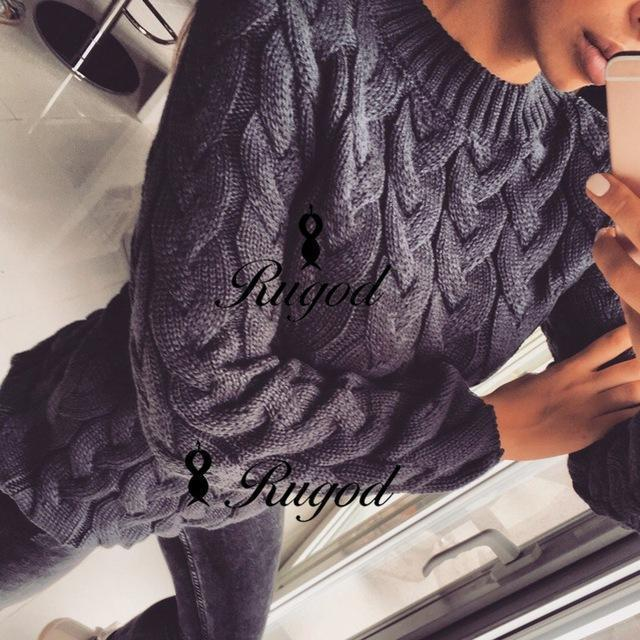 Rugod Spring Twisted Knitted Sweater For Women Multi Colors O Neck Long Sleeve Loose-Sweaters-Hot Womens Fahion Store-dark gray-EpicWorldStore.com