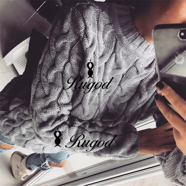 Rugod Spring Twisted Knitted Sweater For Women Multi Colors O Neck Long Sleeve Loose-Sweaters-Hot Womens Fahion Store-light gray-EpicWorldStore.com