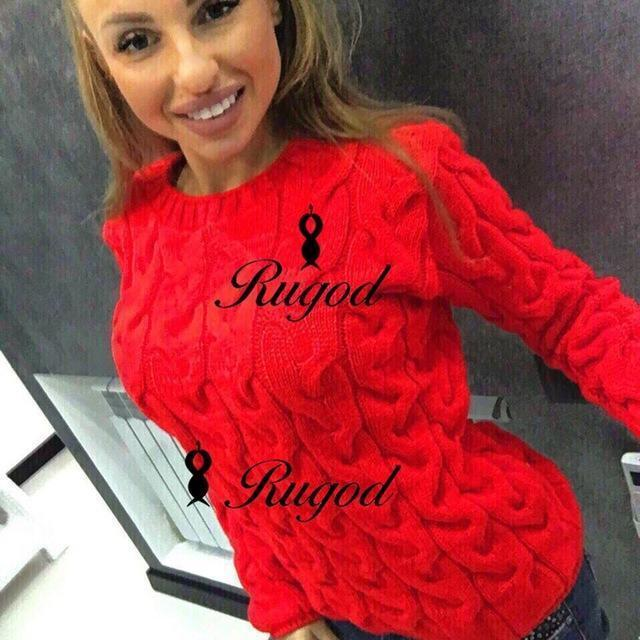 Rugod Spring Twisted Knitted Sweater For Women Multi Colors O Neck Long Sleeve Loose-Sweaters-Hot Womens Fahion Store-red-EpicWorldStore.com