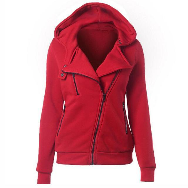 S-Xxl 4 Color New Autumn&Winter Women Hoodies Sweatshirts Zipper V Neck Long Sleeve Warm Female-Hoodies & Sweatshirts-Shuyun Store-Red-S-EpicWorldStore.com