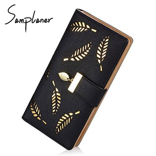 Samplaner Brand Leaves Hollow Women Wallet Soft Pu Leather Womens Clutch Wallet Female Designer-Wallets-Aliwilliamer Bag Store-khaki-EpicWorldStore.com