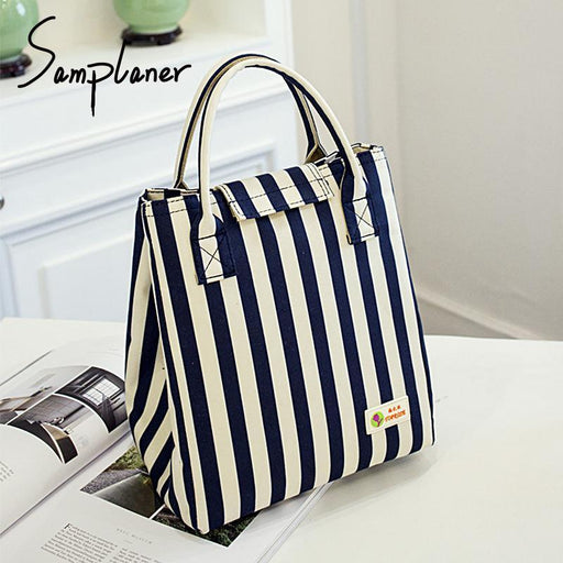 Samplaner Oxford Luxury Lunch Bag For Women Kids Men Cooler Lunch Box Bags Handbag Waterproof-Functional Bags-IKEE Store-dark blue-EpicWorldStore.com