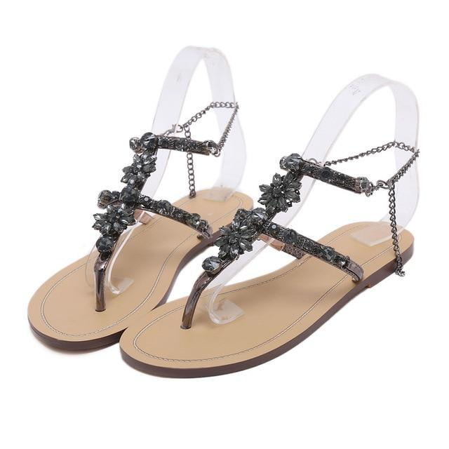 db1aa60f8aa78 Sandals Women Rhinestones Chains Thong Gladiator Flat Sandals Crystal  Chaussure Plus Size 46 Tenis-Magic