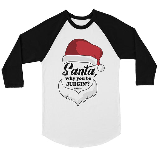 Santa Be Judging Womens Baseball Tee-Apparel & Accessories-365 Printing-White and Black-X-Large-EpicWorldStore.com