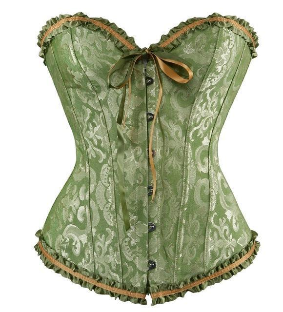 Sapubonva Corsets Stylish Womens Plus Size Corsets And Bustiers Overbust Gothic Strapless Brocade-Bustiers & Corsets-Shop1491672 Store-Green-S-EpicWorldStore.com