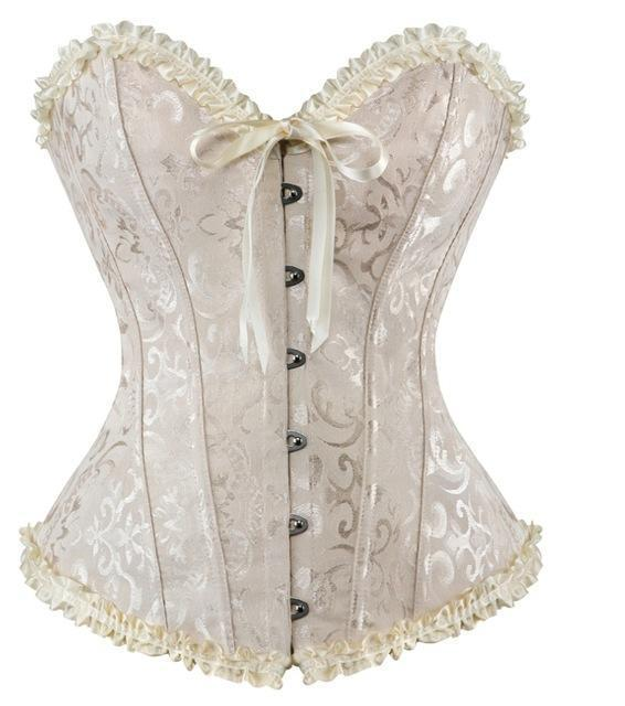 Sapubonva Corsets Stylish Womens Plus Size Corsets And Bustiers Overbust Gothic Strapless Brocade-Bustiers & Corsets-Shop1491672 Store-Ivory-S-EpicWorldStore.com