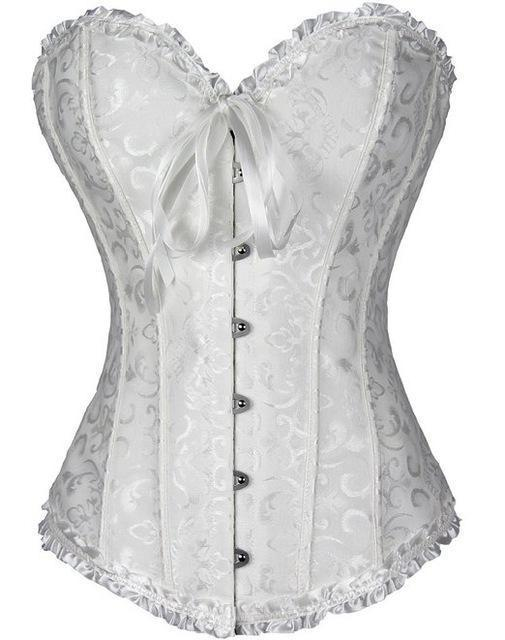 Sapubonva Corsets Stylish Womens Plus Size Corsets And Bustiers Overbust Gothic Strapless Brocade-Bustiers & Corsets-Shop1491672 Store-White-S-EpicWorldStore.com