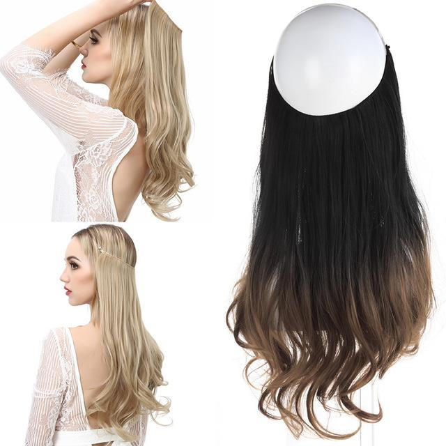 Sarla 20 Synthetic Flip In Natural Wave Hair Extensions Halo Wire