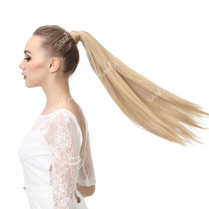 "Sarla Long Straight 24""& 28"" Synthetic Wrap Around Ponytail Hair Extensions High Temperature Fiber-SARLA Official Store-Light Brown-24inches-EpicWorldStore.com"