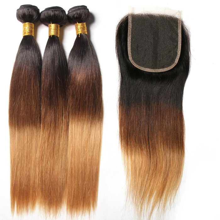 Sayme 3 Tone Ombre Straight Human Hair Bundles With Closure 1b 4 27