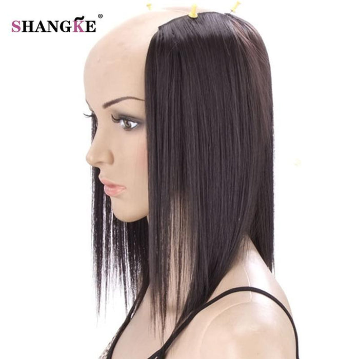 Shangke 2 Pieces 3 Clips In Hair Extensions Medium Straight Hairpieces  Natural Fake Hair Pieces Heat 9bb268a3d3c9