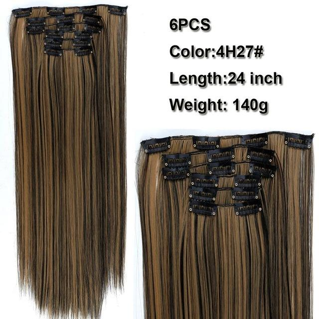 Shangke 24 Long Straight Hair Extension 6 Pcsset 16 Clips High