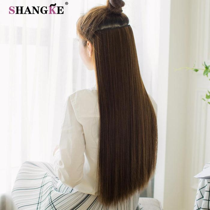 Shangke 80 Cm Long Straight Women Clip In Hair Extensions Heat