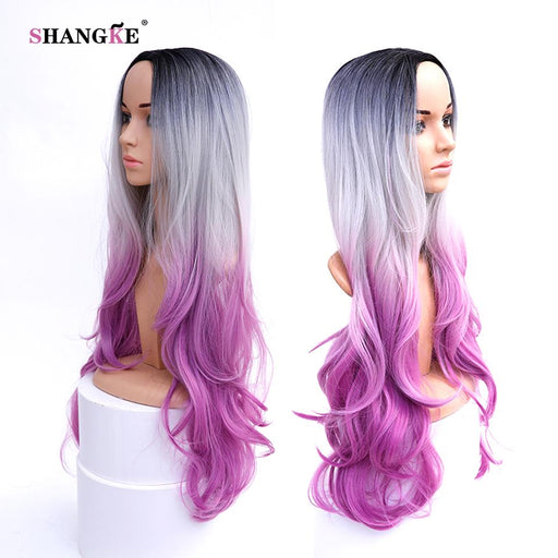 Shangke Hair 32'' Long Wavy Synthetic Wigs For Women Pink Ombre Wig Heat Resistant Synthetic-Shop2178032 Store-EpicWorldStore.com