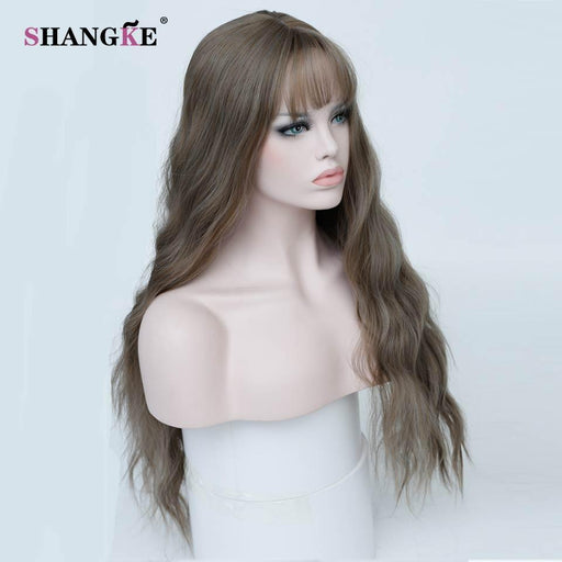 Shangke Long Kinky Curly Brown Hair Wigs For African Americans Heat Resistant Synthetic Wigs For-Shop2178032 Store-#2-EpicWorldStore.com