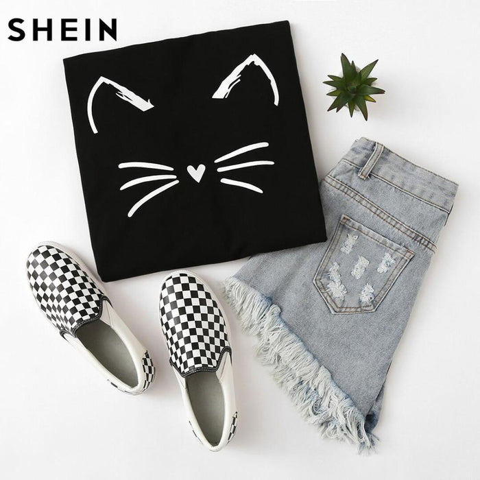 Shein Cartoon Cat Print Sweatshirt Long Sleeve Casual Women Pullovers Black Round Neck Cute-Hoodies & Sweatshirts-SheIn Official Store-XS-EpicWorldStore.com